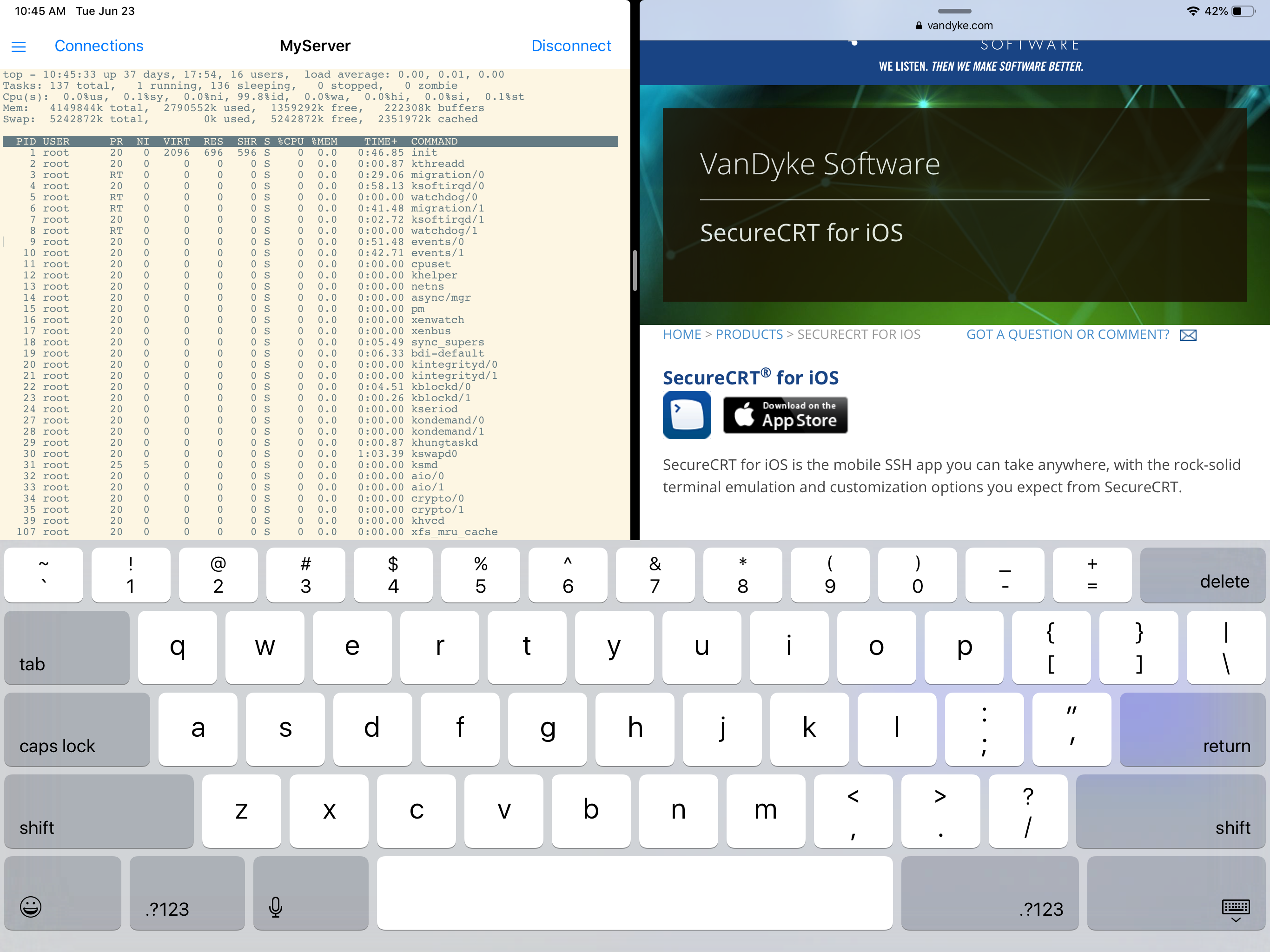 SecureCRT for iOS 2.4 in Split View